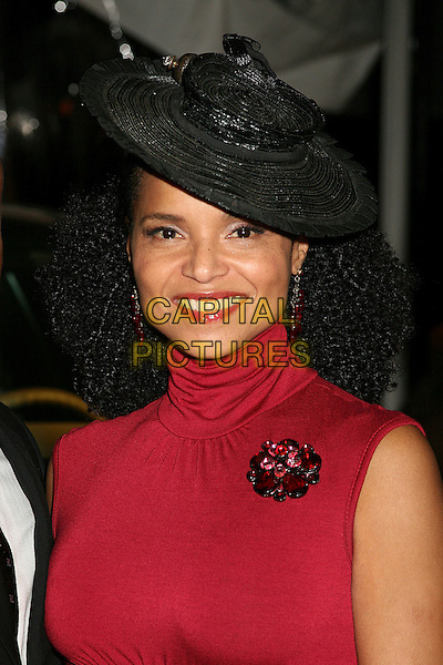 VICTORIA ROWELL .Ebony Hosts 3rd Annual Pre-Oscar Celebration at Jim Henson Studios, Hollywood, California, USA..February 22nd, 2007.headshot portrait black hat red high collar brooch .CAP/ADM/BP.©Byron Purvis/AdMedia/Capital Pictures