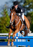 Houston, with rider Daniel Clasing (USA), competes during the Stadium Jumping test during the Fair Hill International at Fair Hill Natural Resources Area in Fair Hill, Maryland on October 21, 2012.