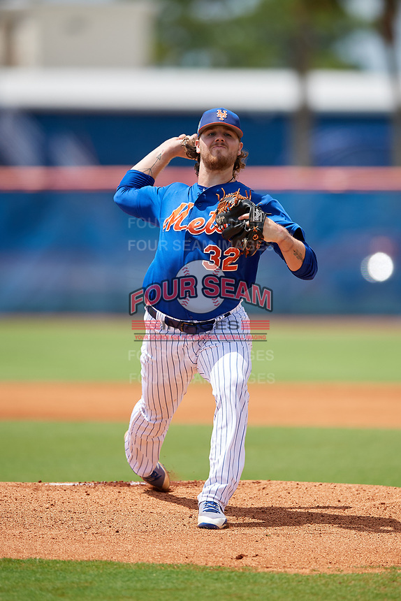 GCL Mets starting pitcher Cameron Planck (32) delivers a pitch during a game against the GCL Marlins on August 3, 2018 at St. Lucie Sports Complex in Port St. Lucie, Florida.  GCL Mets defeated GCL Marlins 3-2.  (Mike Janes/Four Seam Images)