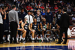 March 6, 2015; Las Vegas, NV, USA; Loyola Marymount Lions players in a huddle against the Santa Clara Broncos during the second half of the WCC Basketball Championships at Orleans Arena.