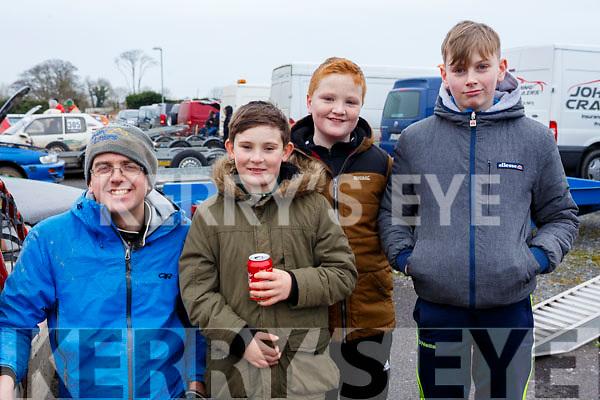 Enjoying the Jimmy Devane Moto Cross at Ballybeggan Racecourse on Saturday last, l-r, James Lucey (Ballyvorney), Aiden Cronan (Killarney), Gene Moynihan (Killarney) and Jack Brennan (Milltown).