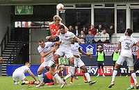 Cameron McGeehan of Luton Town with a headed attempt during the Sky Bet League 2 match between Luton Town and Mansfield Town at Kenilworth Road, Luton, England on 22 October 2016. Photo by Liam Smith.
