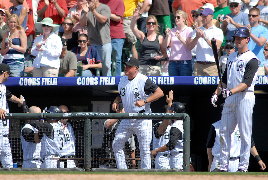 Rockies manager Clint Hurdle watches the game from the dugout during an interleague game against the Minnesota Twins at Coors Field in denver, Colorado on May 18, 2008.