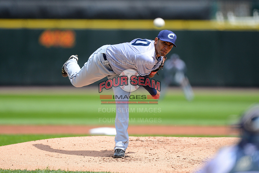Columbus Clippers starting pitcher Danny Salazar #40 during a game against the Rochester Red Wings on May 12, 2013 at Frontier Field in Rochester, New York.  Rochester defeated Columbus 5-4.  (Mike Janes/Four Seam Images)