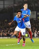 Correction: Ellis Harrison of Portsmouth celebrates his assist to allow John Marquis of Portsmouth to make the score 2-1  during Portsmouth vs Rotherham United, Sky Bet EFL League 1 Football at Fratton Park on 26th November 2019