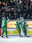 Stockholm 2014-03-05 Bandy SM-semifinal 3 Hammarby IF - V&auml;ster&aring;s SK :  <br /> Hammarbys Patrik Nilsson har kvitterat till 2-2 och jublar med Hammarbys Stefan Erixon framf&ouml;r Hammarby supportrar<br /> (Foto: Kenta J&ouml;nsson) Nyckelord:  VSK Bajen HIF jubel gl&auml;dje lycka glad happy supporter fans publik supporters