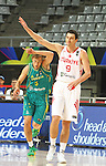 07.09.2014. Barcelona, Spain. 2014 FIBA Basketball World Cup, round of 16. Picture show E. Preldzic and R. Broekhoff in action during game between Turkey   v Australia at Palau St. Jordi