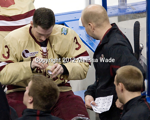 Patch Alber (BC - 3), John Hegarty (BC - Dir-Hockey Ops) - The Boston College Eagles defeated the University of Minnesota Golden Gophers 6-1 in their 2012 Frozen Four semi-final on Thursday, April 5, 2012, at the Tampa Bay Times Forum in Tampa, Florida.