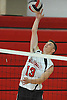 Floral Park No. 13 Ryan Engel makes a successful spike during a Nassau County varsity boys' volleyball match against Farmingdale at Floral Park High School on Thursday, September 24, 2015. He tallied 18 kills, 21 assists and six aces in Floral Park's 23-25, 25-19, 25-15, 25-12 win.<br /> <br /> James Escher
