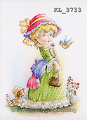 Interlitho, CHILDREN, nostalgic, paintings, girl, dog, bird(KL3733,#K#) Kinder, niños, nostalgisch, nostálgico, illustrations, pinturas