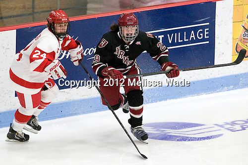 Taylor Holze (BU - 24), Elizabeth Parker (Harvard - 29) - The Boston University Terriers defeated the visiting Harvard University Crimson 2-1 on Sunday, November 18, 2012, at Walter Brown Arena in Boston, Massachusetts.