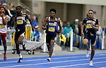 BROOKINGS, SD - FEBRUARY 25:  Malachi Adams from Western Illinois leads the pack in the men's 200 meter dash at the 2017 Summit League Indoor Track and Field Championship Saturday afternoon in Brookings, SD. (Photo by Dave Eggen/Inertia)