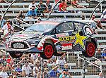 Brain Deegan (38) driver of the Rockstar Energy Metal Mulisha car, in action during the Global Rally Cross race, the Hoon Kaboom, at Texas Motor Speedway in Fort Worth,Texas. Global Rally Cross driver Marcos Gronholm (3) wins the Hoon Kaboom race..