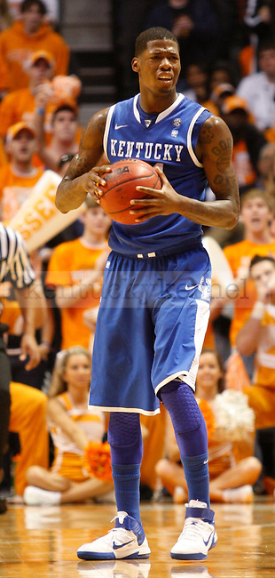 Junior guard DeAndre Liggins reacts to a call made in the first half of the UK vs. UT game at Thompson-Boling Arena, on Sunday, March 6, 2011. Liggins totaled 28 minutes of play before fouling out.  Kentucky went on to win 64-58.  Photo by Latara Appleby   Staff