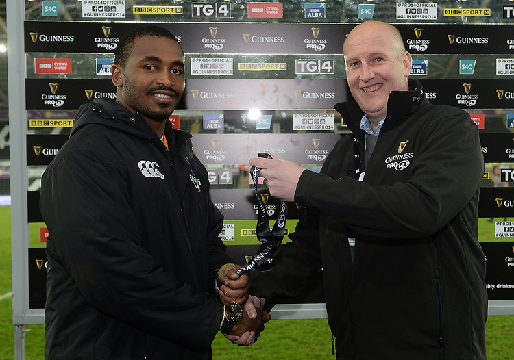 Southern Kings Andisa Ntsila receives the man of the match medal from Guinness representative Chris Richards <br /> <br /> Photographer Ian Cook/CameraSport<br /> <br /> Guinness Pro14 Round 15 - Ospreys v Southern Kings - Friday 16th February 2018 - Liberty Stadium - Swansea<br /> <br /> World Copyright &copy; 2018 CameraSport. All rights reserved. 43 Linden Ave. Countesthorpe. Leicester. England. LE8 5PG - Tel: +44 (0) 116 277 4147 - admin@camerasport.com - www.camerasport.com