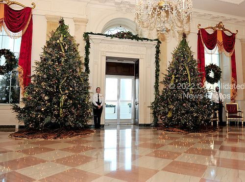 The Grand Foyer of the White House looking out the door of the North Portico of the White House in Washington, DC.  The theme for the White House Christmas 2011 is Shine, Give, Share - celebrating the countless ways we can lift up those around us, put our best self forward in the spirit of the season, spend time with friends and family, celebrate the joy of giving to others, and share our blessings with all.  The theme translates to the holiday décor on several levels. There is the literal translation through the use of shiny elements – star motifs, quartz and metallics like copper, aluminum and mirrored paper. There is also a conceptual connection – we're inviting visitors to give their thanks to members of our military, and have once again invited guest artists to share their talents working with the White House. This year's décor also includes handmade decorations crafted from simple materials – paper, felt, and even recycled cans. These are projects that anyone can do at home using readily available materials that are inexpensive or free..Credit: Ron Sachs / CNP