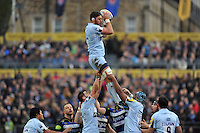 Darren Barry of Worcester Warriors wins the ball at a lineout. Aviva Premiership match, between Bath Rugby and Worcester Warriors on December 27, 2015 at the Recreation Ground in Bath, England. Photo by: Patrick Khachfe / Onside Images