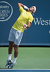 Juan Martin Del Potro (ARG) battles against Dmitry Tursunov at the Western & Southern Open in Mason, OH on August 16, 2013.