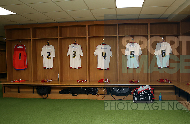 Sheffield United Ladies shirts hang up in the dressing room prior to kick off during the FA Women's Cup First Round match at Bramall Lane Stadium, Sheffield. Picture date: December 4th, 2016. Pic Clint Hughes/Sportimage