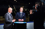 Stockholm 2014-10-14 Ishockey Hockeyallsvenskan AIK - Malm&ouml; Redhawks :  <br /> Viasat Sports expert Erik Granqvist och programledare Niklas Jihde i TV-studion inf&ouml;r matchen mellan AIK och Malm&ouml; Redhawks <br /> (Foto: Kenta J&ouml;nsson) Nyckelord:  AIK Gnaget Hockeyallsvenskan Allsvenskan Hovet Johanneshov Isstadion Malm&ouml; Redhawks portr&auml;tt portrait TV studio