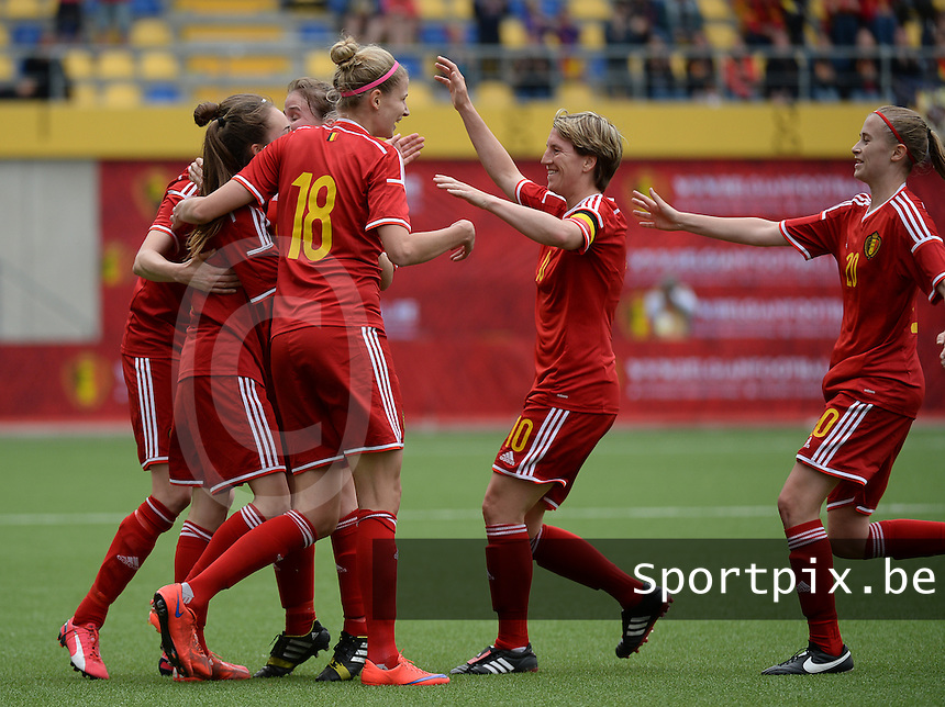 20150523 - SINT-TRUIDEN ,  BELGIUM : Belgium pictured celebrating after the 3-2 goal from Tessa Wullaert during the friendly soccer game between the Belgian Red Flames and Norway, a preparation game for Norway for the Women's 2015 World Cup, Saturday 23 May 2015 at Staaien in Sint-Truiden , Belgium. PHOTO DAVID CATRY