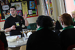 Careers Wales.Chef Massimo Bishop-Scotti giving pupils at Mountain Ash Comprehensive School a cookery demonstration...07.03.12.©STEVE POPE