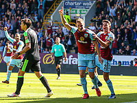 Burnley's Chris Wood celebrates scoring the opening goal with Matthew Lowton<br /> <br /> Photographer Alex Dodd/CameraSport<br /> <br /> The Premier League - Burnley v Bournemouth - Sunday 13th May 2018 - Turf Moor - Burnley<br /> <br /> World Copyright &copy; 2018 CameraSport. All rights reserved. 43 Linden Ave. Countesthorpe. Leicester. England. LE8 5PG - Tel: +44 (0) 116 277 4147 - admin@camerasport.com - www.camerasport.com