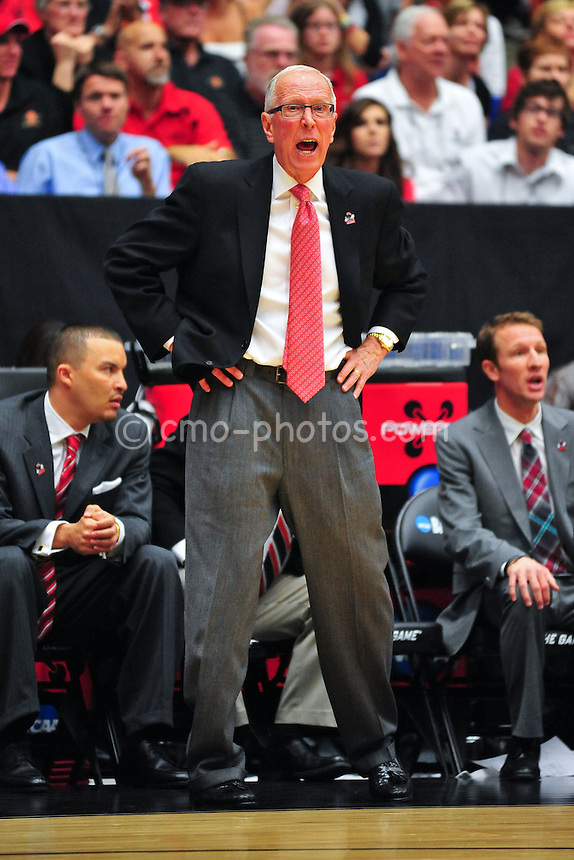 Mar 19, 2011; Tucson, AZ, USA; San Diego State Aztecs head coach Steve Fisher in the first half of a game against the Temple Owls in the third round of the 2011 NCAA men's basketball tournament at the McKale Center.