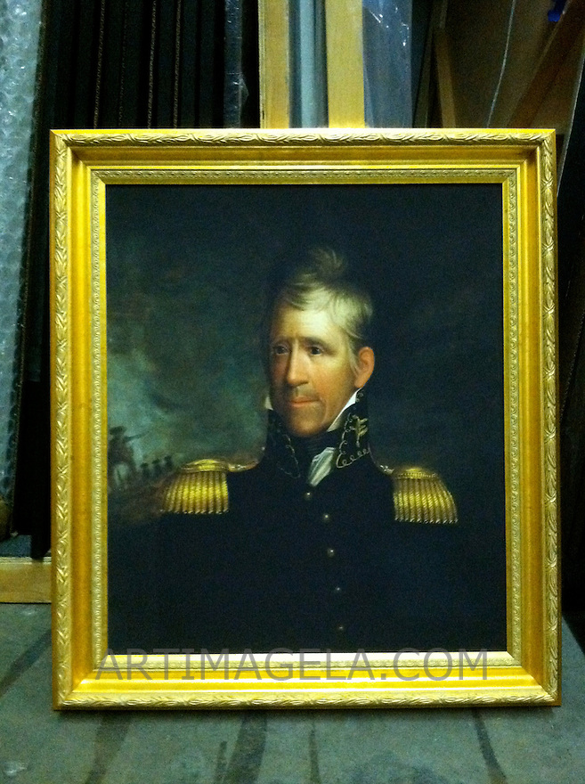 Reproduction of Ralph Eleaser Whiteside Earl (1788-1838) Andrew Jackson (1767-1845). 7th US President. Ca. 1817. Oil on canvas, 76.2cm x 64.8cm (30&quot; x 25 1/2&quot;). Location:<br /> National Portrait Gallery, Smithsonian Institution, Washington<br /> Reproduction Stretcher Size 30&quot; x 25 1/2&quot; Plus Frame Portrait from the National Portrait Gallery