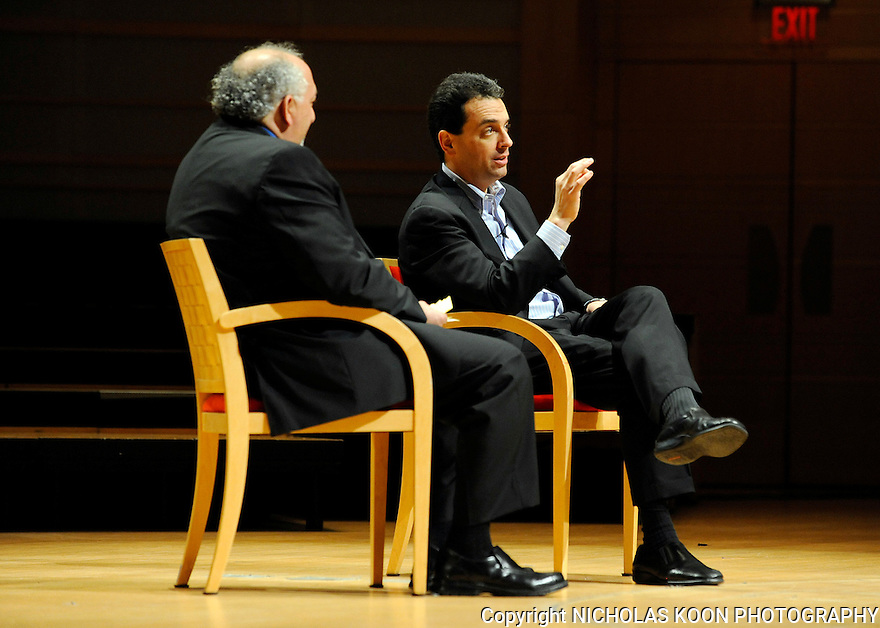Executive director of Arts Orange County, Richard Stein (Left) conducts a Q and A with Daniel Pink at the Rene and Henry Segerstrom Concert Hall in Costa Mesa. 2010