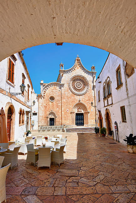 The Italian Gothic Cathedral of Ostuni built between 1569-1495  .Ostuni, The White Town, Puglia, Italy.