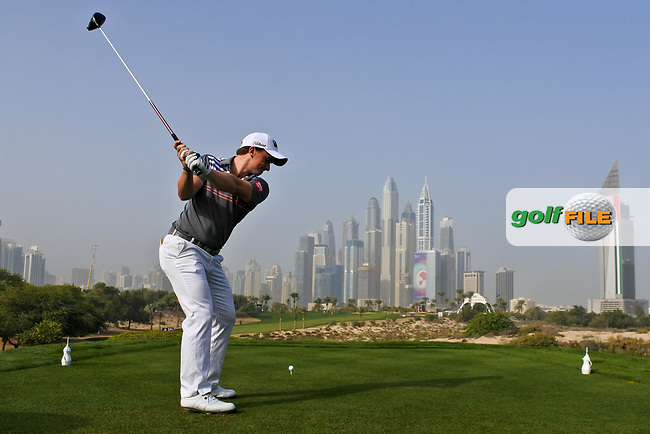 Paul Dunne (IRL) on the 8th tee during Round 2 of the Omega Dubai Desert Classic, Emirates Golf Club, Dubai,  United Arab Emirates. 25/01/2019<br /> Picture: Golffile | Thos Caffrey<br /> <br /> <br /> All photo usage must carry mandatory copyright credit (© Golffile | Thos Caffrey)