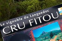 Le Vignoble du Languedoc Cru Fitou, The Fitou vineyards in Languedoc. Fitou. Languedoc. France. Europe.