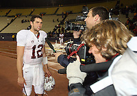 Oct 30, 20010:  Stanford quarterback #12 Andrew Luck interviews with a local TV station after the game against Washington.  Stanford defeated Washington 41-0 at Husky Stadium in Seattle, Washington...