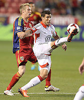 Nat Borchers #6 of Real Salt Lake fights for the ball with Chris  Pontius #13 of D.C. United during the first half of the U.S. Open Cup Final on October  1, 2013 at Rio Tinto Stadium in Sandy, Utah.