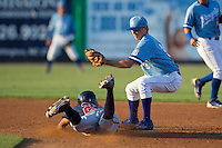 Kurt Hoekstra (25) of the Danville Braves steals second base ahead of the tag by Brian Bien (3) of the Burlington Royals at Burlington Athletic Park on August 13, 2015 in Burlington, North Carolina.  The Braves defeated the Royals 6-3. (Brian Westerholt/Four Seam Images)