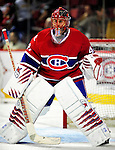 10 April 2010: Montreal Canadiens' goaltender Jaroslav Halak warms up prior to a game against the Toronto Maple Leafs at the Bell Centre in Montreal, Quebec, Canada. The Leafs defeated the Habs 4-3 in sudden death overtime, in their final game of the regular season, with the Canadiens advancing to the Stanley Cup Playoffs with the single point. Mandatory Credit: Ed Wolfstein Photo