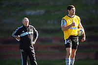 All Blacks coach Graham Henry and Stephen Donald. All Blacks Training Session at Rugby League Park, Newtown, Wellington. Thursday 17 September 2009. Photo: Dave Lintott/lintottphoto.co.nz
