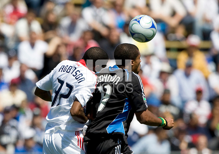 April 11, 2009:  Dasan Robinson of Fire and Ryan Johnson of Earthquakes in action at Buck Shaw Stadium in Santa Clara, California. San Jose Earthquakes and Chicago Fire tied, 3-3
