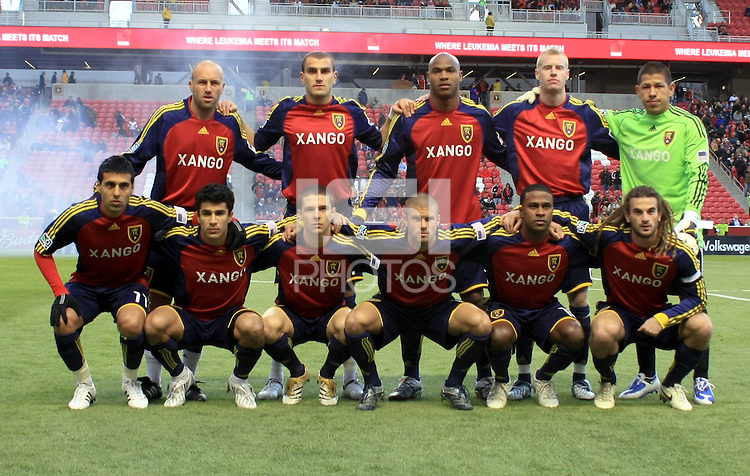 Real Salt Lake starting lineup in the Columbus Crew vs Real Salt Lake 1-4 RSL win at Rio Tinto Stadium in Sandy, Utah on April 2, 2009.