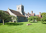 Manor house and church at Wilcot, Vale of Pewsey, Wiltshire, England