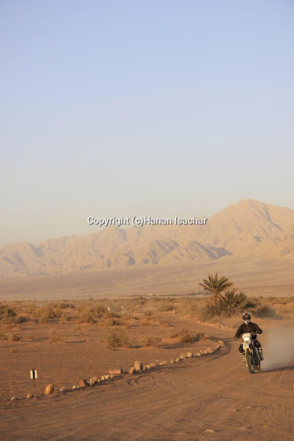 Israel, Arava region, motorcycle rider in Evrona