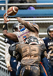ANSONIA, CT. 02 December 2018-120218 Ansonia's Jy'mere Jones #22 hits Bloomfield's Anthony Simpson #3 jarring the ball away from him for an incomplete pass during the Class S Semi-final game between Bloomfield and Ansonia at Ansonia High School in Ansonia on Sunday. Bloomfield held on to beat Ansonia 26-19 and advances to the Class S Championship game next week. Bill Shettle Republican-American