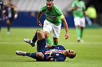24th July 2020, Stade de France, Paris, France; French football Cup Final, Paris Saint Germain versus  St Ertienne;  07 KYLIAN MBAPPE (PSG) goes down to a heavy foul by 24 LOIC PERRIN (ASSE)