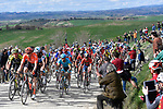 The peloton on sector 10 Colle Pinzuto during Strade Bianche 2019 running 14km from Siena to Siena, held over the white gravel roads of Tuscany, Italy. 9th March 2019.<br /> Picture: Eoin Clarke | Cyclefile<br /> <br /> <br /> All photos usage must carry mandatory copyright credit (© Cyclefile | Eoin Clarke)