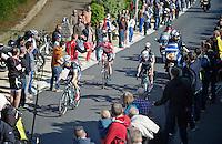 counter-attackers up the Schavei in search for the breakaway up ahead include 3 Omega-Quickstep riders and Jurgen Van den Broeck (BEL/Lotto-Belisol) who is handed a bidon by Eric Vanderaerden (Flanders '85 &amp; Roubaix '87 winner + Green Jersey TdF '86)<br /> <br /> Brabantse Pijl 2014