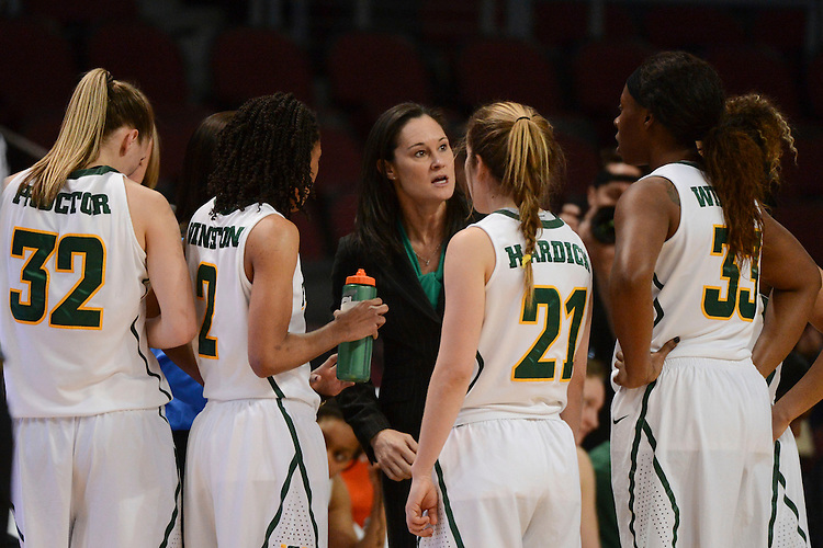 March 6, 2014; Las Vegas, NV, USA; San Francisco Lady Dons head coach Jennifer Azzi (center) talks to her team against the Loyola Marymount Lions during the second half of the WCC Basketball Championships at Orleans Arena.