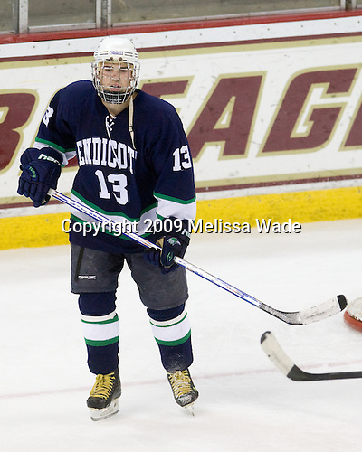Patrick Bourque (Endicott - 13) - The Boston College Eagles defeated the Endicott College Gulls 6-1 in a Northeast Collegiate Hockey Association (ACHA) matchup on Tuesday, November 3, 2009, at Conte Forum in Chestnut Hill, Massachusetts.