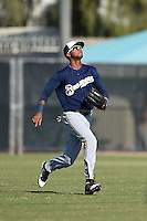 Milwaukee Brewers outfielder Carlos Belonis (27) during an Instructional League game against the San Francisco Giants on October 10, 2014 at Maryvale Baseball Park Training Complex in Phoenix, Arizona.  (Mike Janes/Four Seam Images)