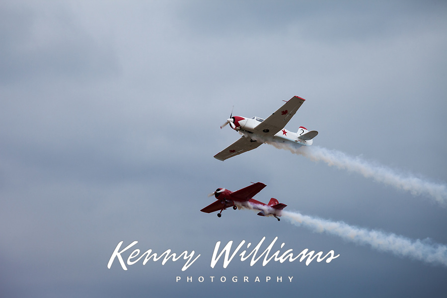 Two Airplanes in Flight, Arlington Fly-In 2015, Washington State, WA, America, USA.